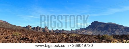 Volcanic Rock Formations Roques De Garcia Panorama In Teide National Park On Canary Island Tenerife,