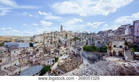 Panorama Of Italian City Of Matera, Showing The Famous Medieval Town Built On A Rock Known As Sassi,