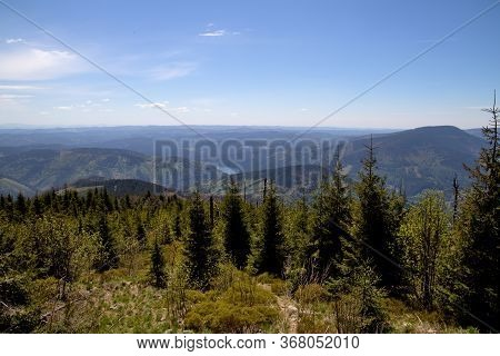 View From Lysá Hora To The Šance Reservoir, Forests, Blue Sky Moravian-silesian Beskydy, Czech Repub