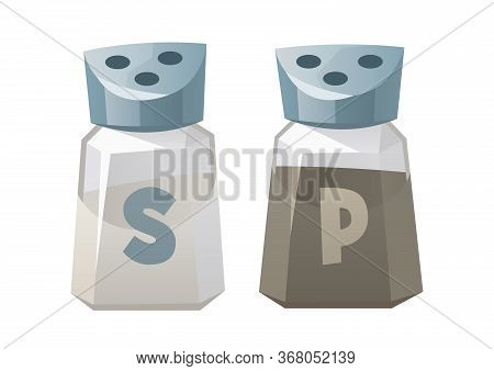 Salt And Pepper Shaker Glass Cutlery With Metal Screw Cap On White Background Vector