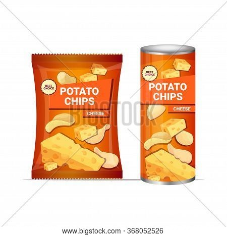 Potato Chips With Cheese Flavor Crisps Natural Potatoes And Packaging Advertising Design Template Is