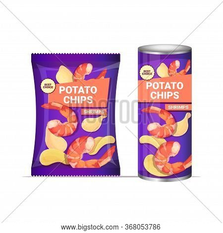 Potato Chips With Shrimps Flavor Crisps Natural Potatoes And Packaging Advertising Design Template I