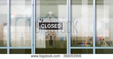 Sorry We Are Closed Sign Hanging Outside Sport Gym Coronavirus Pandemic Quarantine Bankruptcy Commer