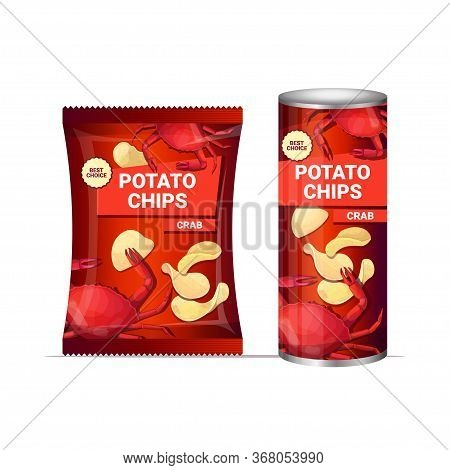 Potato Chips With Crab Flavor Crisps Natural Potatoes And Packaging Advertising Design Template Isol