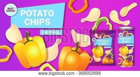 Potato Chips With Paprika Flavor Advertising Composition Of Crisps Natural Potatoes And Packaging Ad