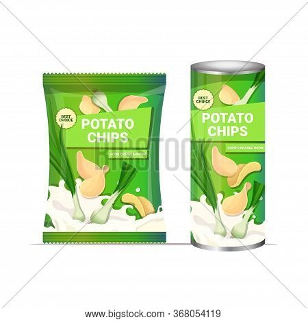 Potato Chips With Onion Flavor Crisps Natural Potatoes And Packaging Advertising Design Template Iso
