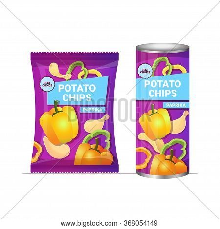Potato Chips With Paprika Flavor Crisps Natural Potatoes Packaging Advertising Design Template Isola