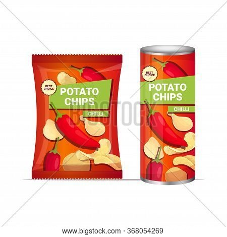 Potato Chips With Chilli Flavor Crisps Natural Potatoes And Packaging Advertising Design Template Is