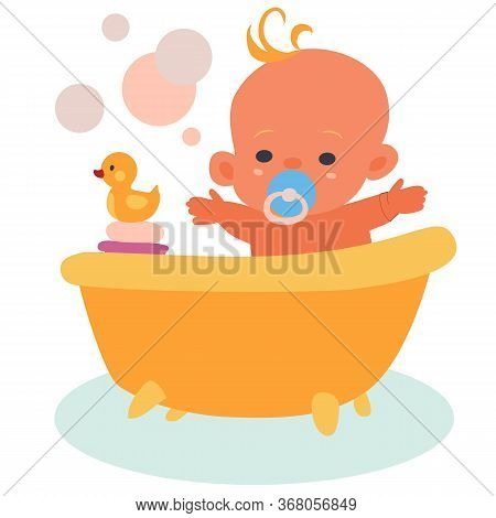 Happy Baby Bathes In A Bath With A Yellow Rubber Duck, Isolated Object On A White Background, Vector