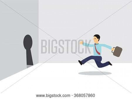Businessman Running Towards A Keyhole To Escape. Concept Of Freedom And Goal Setting. Flat Cartoon I