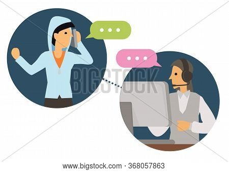 Female Telemarketer Or Sales Agent At Workplace With Headset At Call Center Talking To Customer. Hel