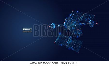 Abstract 3d Communications Satellite Isolated In Dark Blue. Wireless Satellite Technology, Mobile Co
