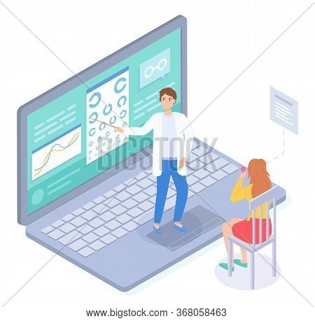 Isometric Illustration In Flat Style. Patient Checking Vision In Virtual Medical Cabinet In Oculist