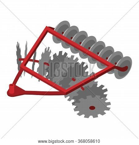 Disc Tractor Plow Icon. Isometric Of Disc Tractor Plow Vector Icon For Web Design Isolated On White