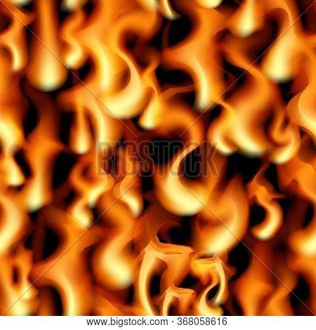 Fire Seamless Pattern Background. Orange Flame Vector Illustration. Blaze Design.
