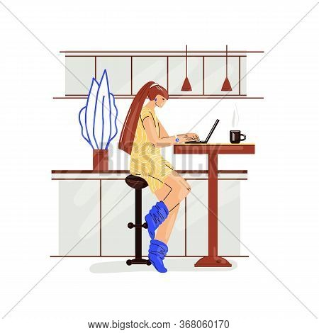 Freelance Woman Work In Comfortable Cozy Home Office In Kitchen Vector Flat Illustration. Freelancer