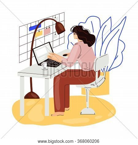 Freelance Woman Work In Comfortable Cozy Home Office Vector Flat Illustration. Freelancer Girl Chara