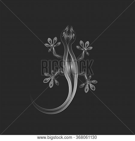 Gecko Logo Line Art Silhouette Lizard Gradient Lines, Creative Animal Vector Illustration Isolated O