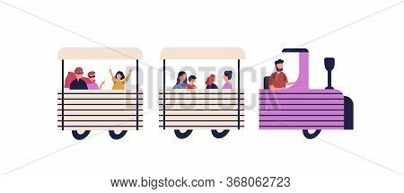 Happy Children Riding On Train Vector Flat Illustration. Colorful Kids And Parents Enjoying Track Am