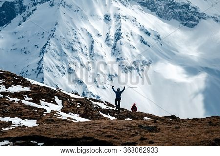 Himalayas Landscape, Annapurna Circuit Trek, Tourist Reaching Top Of The Trek To High Altitude Tilic
