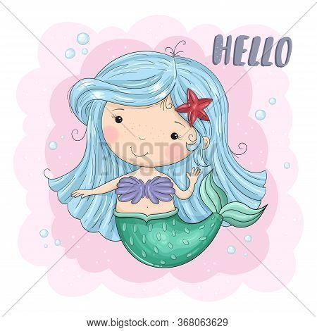 Cute Cartoon Mermaid. Good For Greeting Cards, Invitations, Decoration, Print For Baby Shower, Etc H