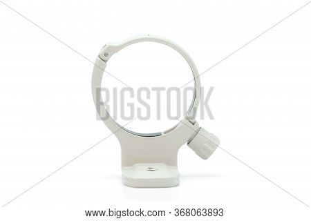 Aluminum Tripod Collar Mount Lens Ring For Zoom Lens Isolated On White Background. The File Includes