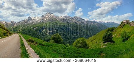 A Panorama Of The Village Of Gourette In The French Pyrenees.