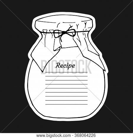 Recipe Card With Lines Text And Big Jar Glass. To Use For Writing Down A Recipe. Vector Illustration
