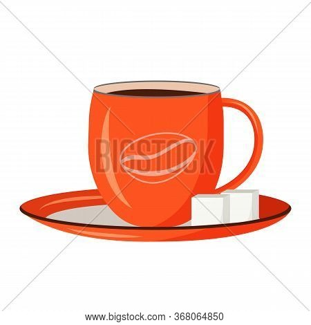 Red Cup Cartoon Vector Illustration. Black Coffee In Ceramic Mug Flat Color Object. Diner Order. Ame