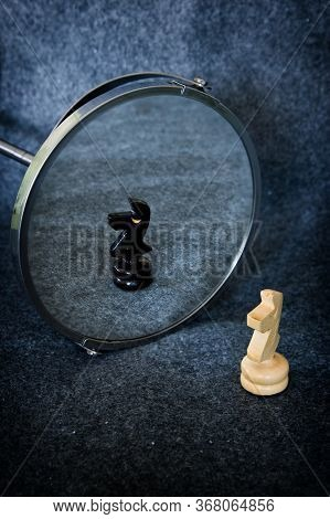 White Chess Knight Reflected As A Black Knight.identity, Rivalry, Competition, Opposite Teams Concep