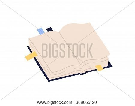 Open Paper Book With Empty Pages And Colorful Bookmarks Vector Illustration. Colored Notebook With S