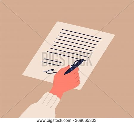 Human Hand Signing Notary Document Holding Pen Vector Flat Illustration. Cartoon Person Arm Confirm