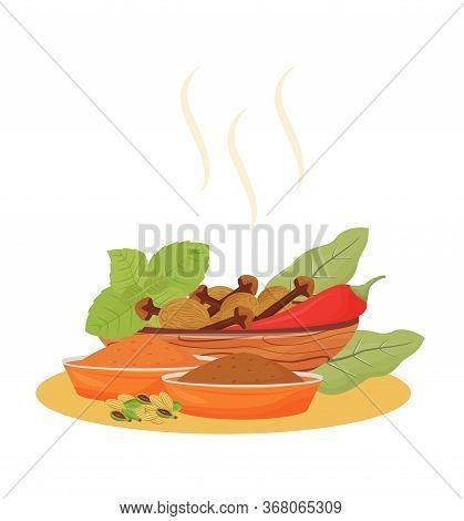Indian Beverage Condiments Cartoon Vector Illustration. Tea Additives In Wooden Bowls Flat Color Obj