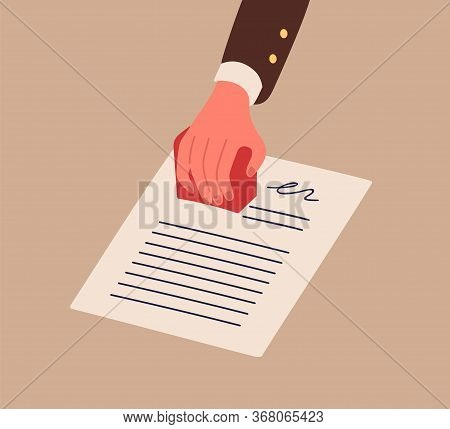 Business Person Hand In Suit Holding Stamp Vector Flat Illustration. Human Arm Stamping Document Wit