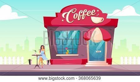 Coffeeshop On Sidewalk Flat Color Vector Illustration. Person Having Brunch At Outside Cafe. Restaur