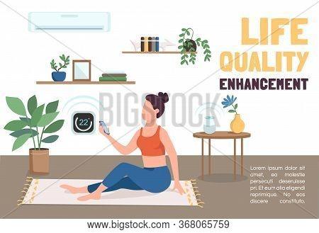 Life Quality Enhancement Banner Flat Vector Template. Iot Technologies Brochure, Poster Concept Desi
