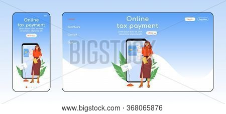 Online Tax Payment Adaptive Landing Page Flat Color Vector Template. E Commerce Mobile And Pc Homepa