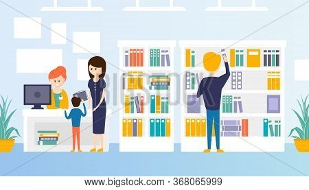 Bookstore Or Library Interior With Bookshelves, People Choosing, Buying And Returning Books Flat Vec