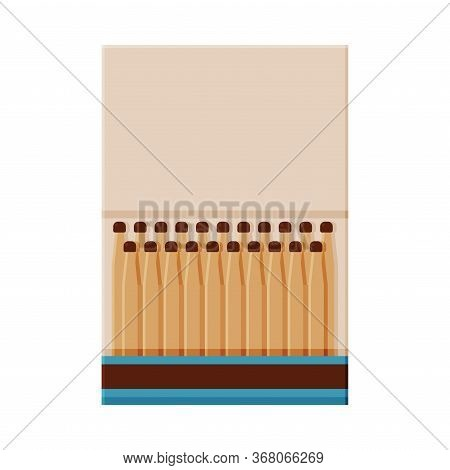 Matchbox With Matches, Sulphur Head Match Set For Bonfire, Gas Stove, Smoking Vector Illustration