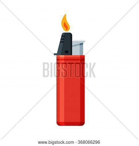 Red Plastic Cigarette Lighter With Fire, Flammable Smoking Equipment Vector Illustration