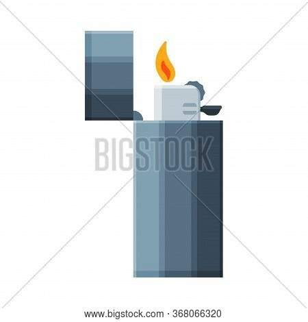 Steel Cigarette Lighter With Fire, Flammable Smoking Equipment Vector Illustration