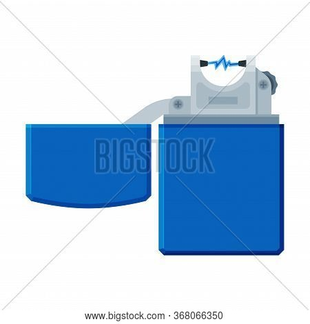 Blue Metal Cigarette Lighter, Flammable Smoking Equipment Vector Illustration