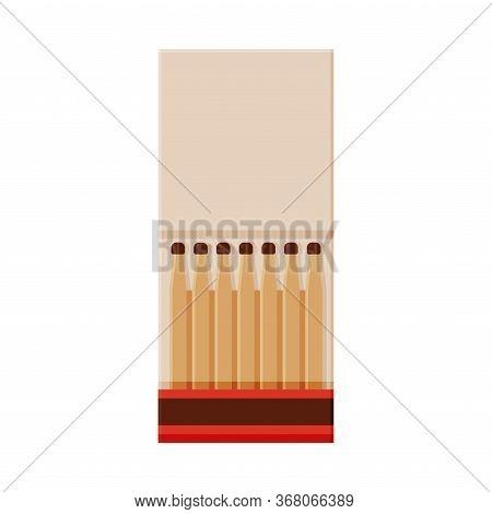 Paper Matchbox With Matches, Sulphur Head Match Set For Bonfire, Gas Stove, Smoking Vector Illustrat