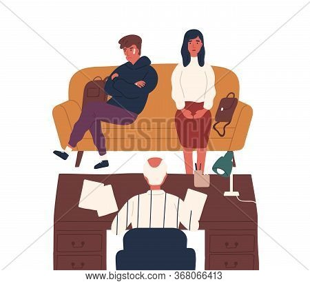Frustrated Mother And Disobedience Son Meeting With Director At Office Vector Flat Illustration. Mom