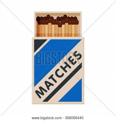 Opened Cardboard Matchbox With Matches, Sulphur Head Match Set For Bonfire, Gas Stove, Smoking Vecto