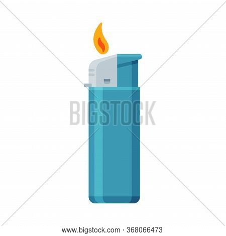 Blue Plastic Cigarette Lighter With Fire, Flammable Smoking Equipment Vector Illustration