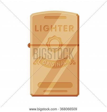 Steel Cigarette Lighter, Flammable Smoking Equipment Vector Illustration