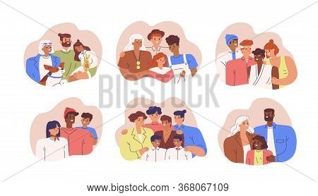 Set Of Various Diverse Happy Family Portrait Vector Flat Illustration. Collection Of Different Multi
