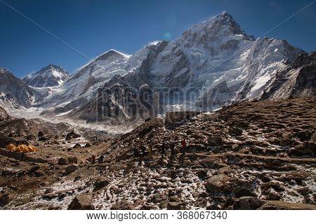 Bright Yellow Tents In Mount Everest Base Camp, Khumbu Glacier And Mountains, Sagarmatha National Pa
