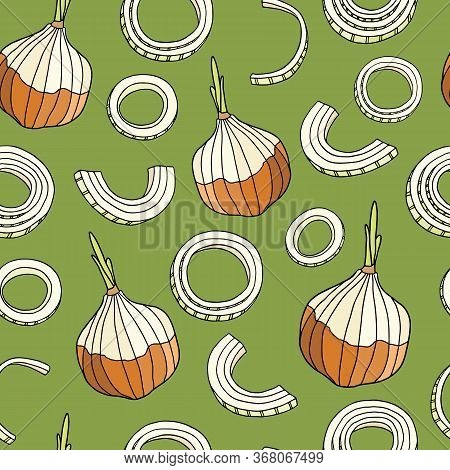 Seamless Pattern With Sweet Onion. Hand Drawn Onion Bulb, Cut Slices And Rings On Green Background.